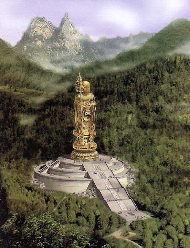 九华山佛教协会拟于九华山北麓柯村风景区刘冲和蛇冲之间狮子峰西段